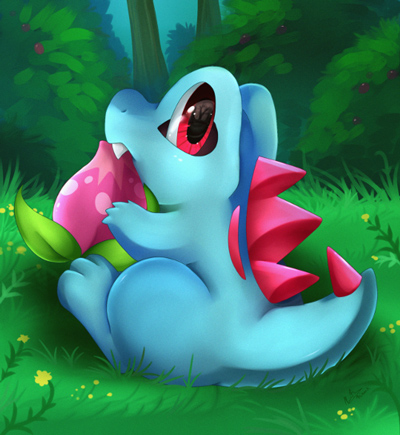 Totodile eating flower