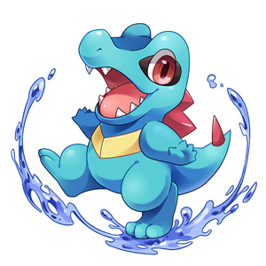 Totodile splashing water